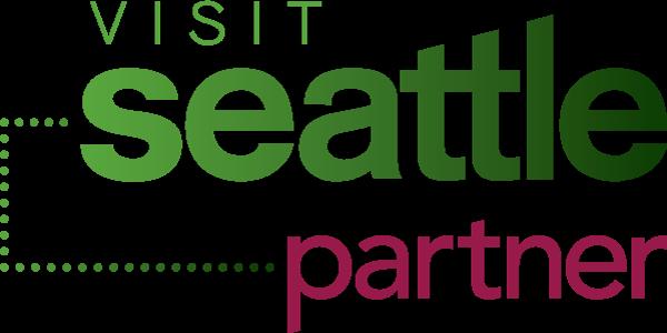 Visit Seattle green and pink logo
