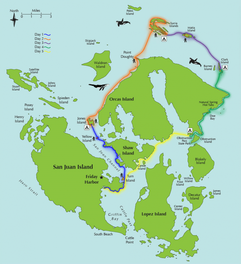 Green on blue map of San Juan Islands with Kayak Trip route highlighted in colored lines