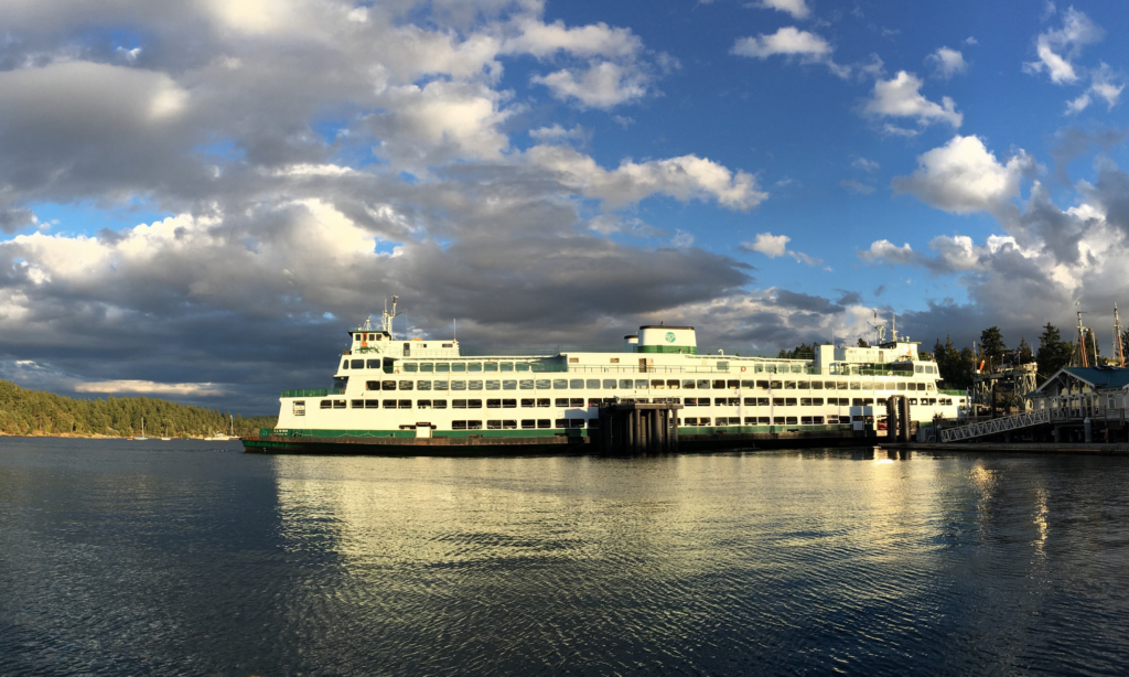 Ferry pulling into Friday Harbor in the San Juan Islands