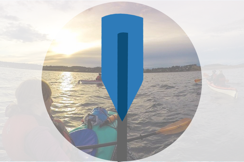 Icon of blue kayak paddle over faded image of person in kayak paddling towards sunset